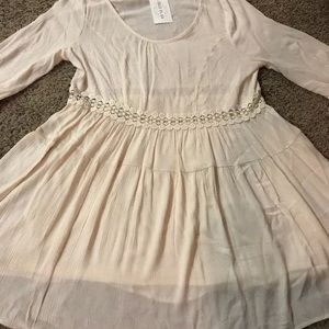 Filly Flair Ivory Partially Lined Dress Sz L New